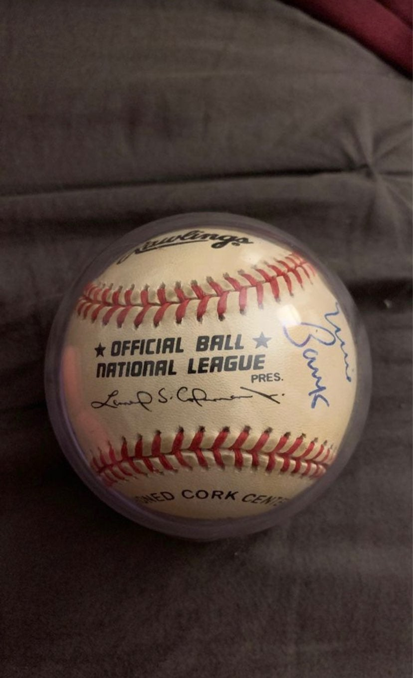 Ernie Banks Signed Official National Lea