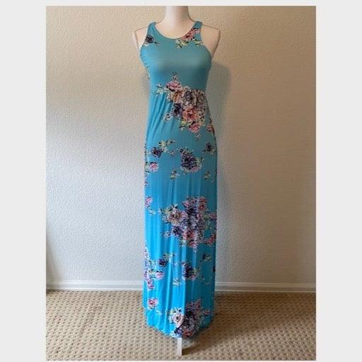 PinkBlush Turquoise Floral Maternity Maxi Dress Sz Medium
