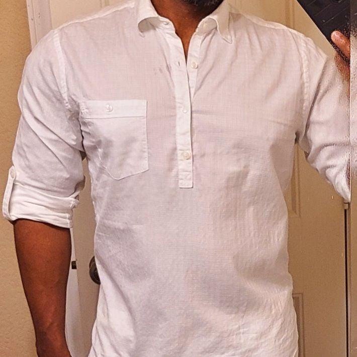 MEN'S white popover shirt