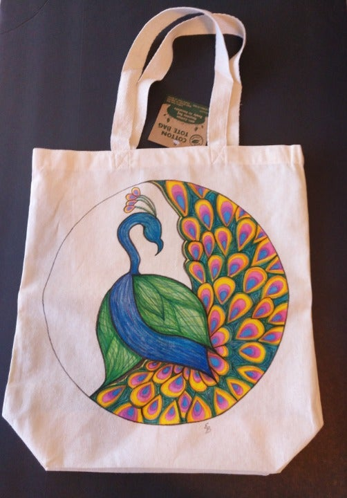 Peacock Tote Bag Peafowl Bird Market Bag