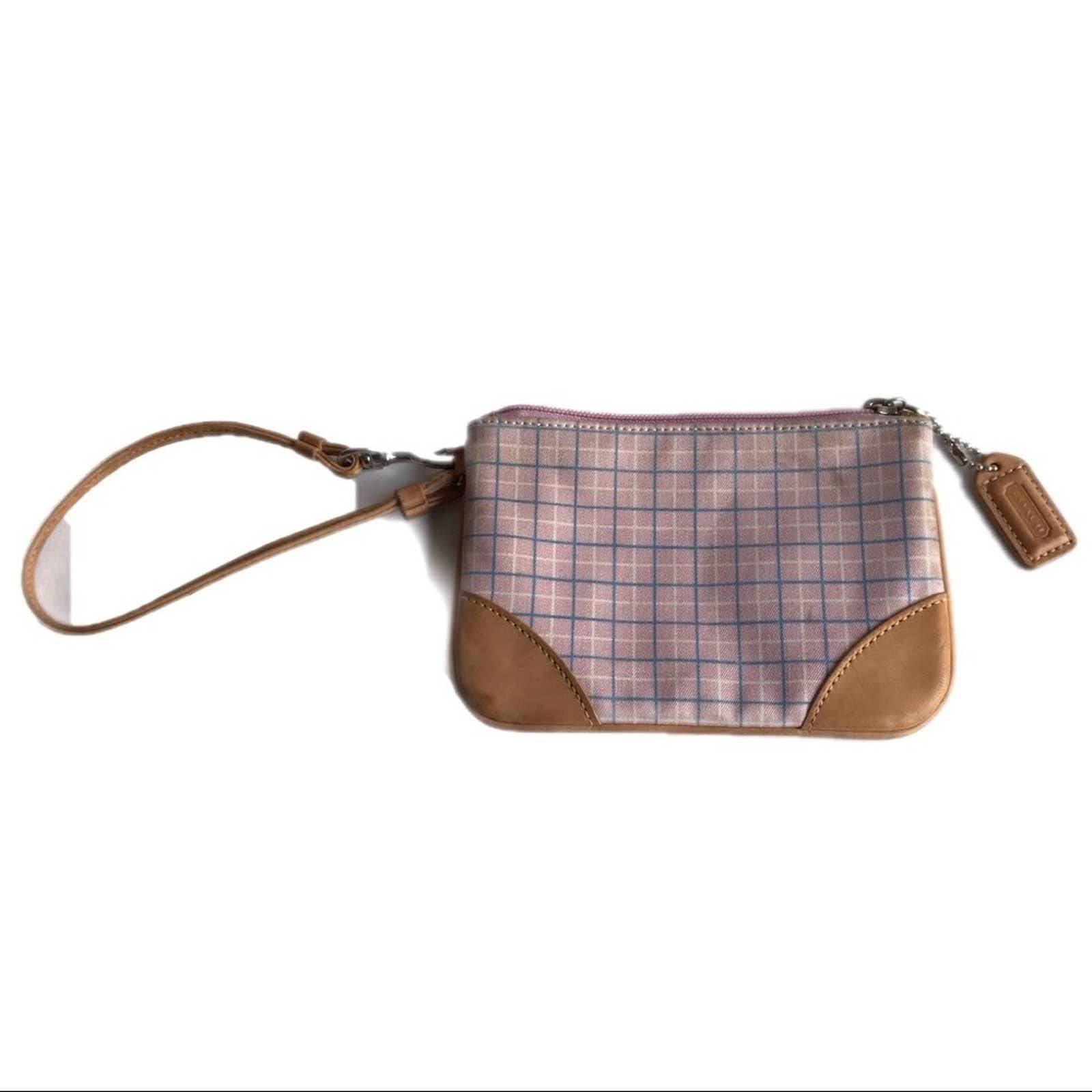 Coach Small Wristlet Pouch Bag Plaid