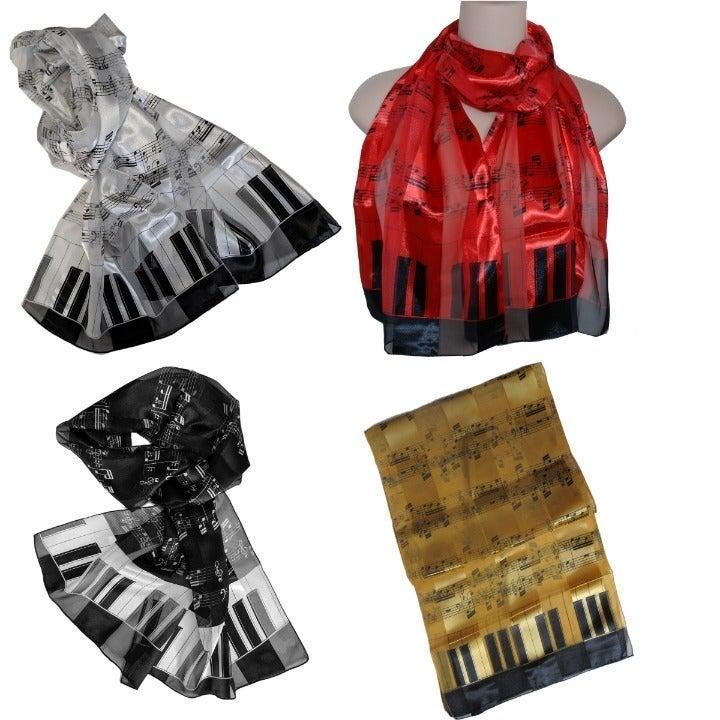 4 Silk Like Music Keyboard Piano Scarf