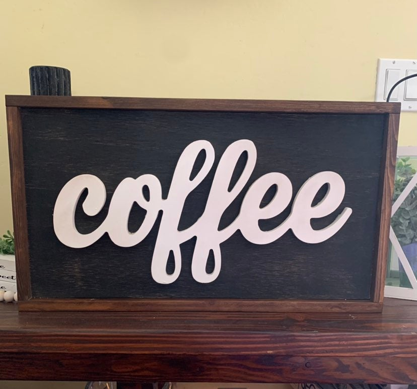 3D Coffee wood sign