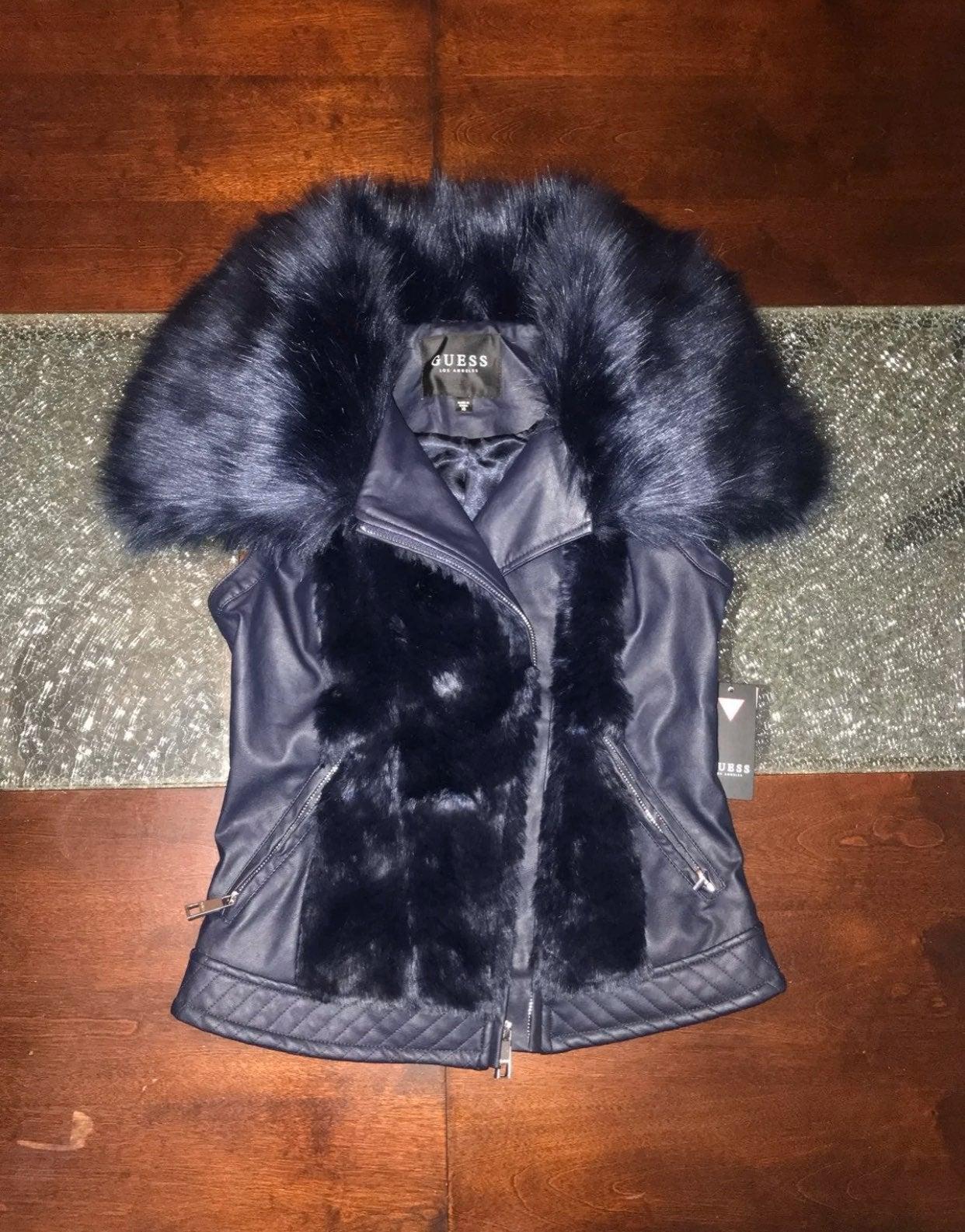 Guess Faux Leather & Faux Fur Jacket
