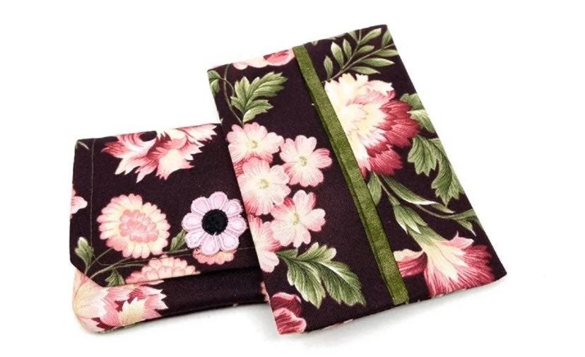 Pink Floral Fabric Wallet/Tissue Holder