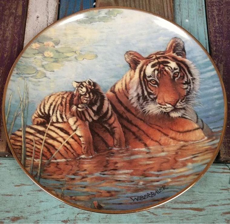 Franklin Mint afternoon swim tiger plate