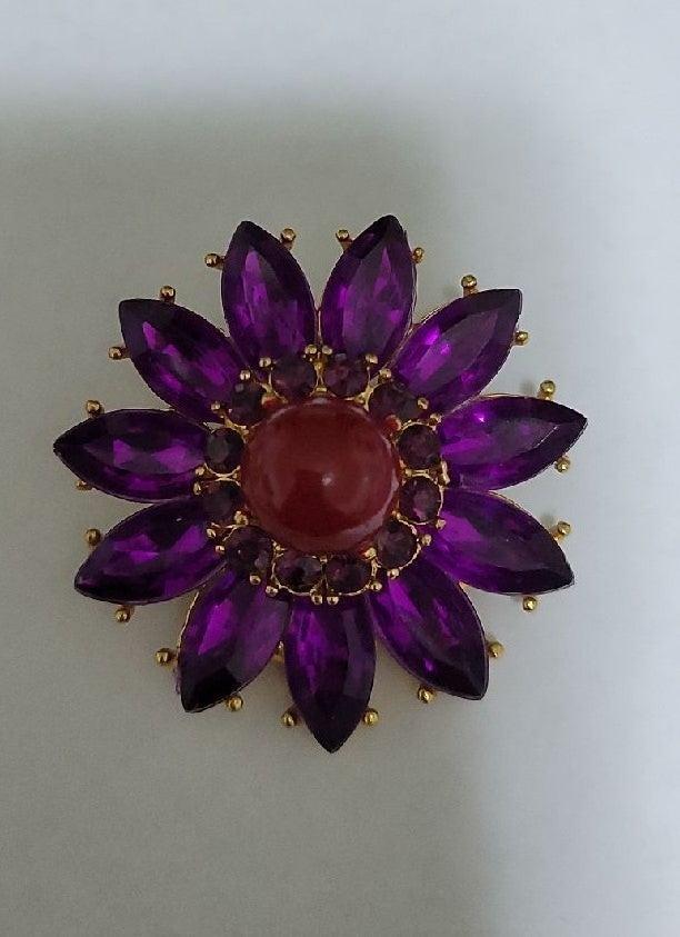 vintage brooch flower purple/red