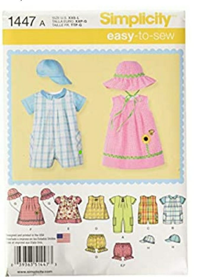 Simplicity 1447 Baby's Romper, Dress, To