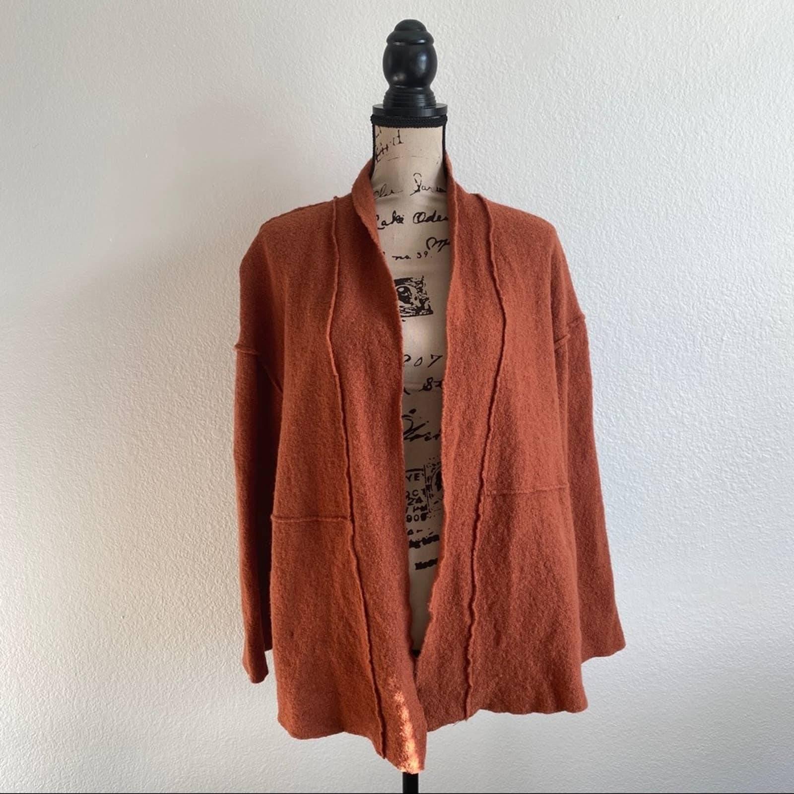 TAHARI Orange Wool Cardigan Boxy Blazer