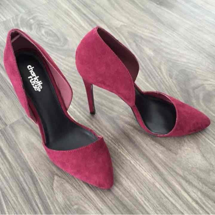 Burgundy D'Orsay heels