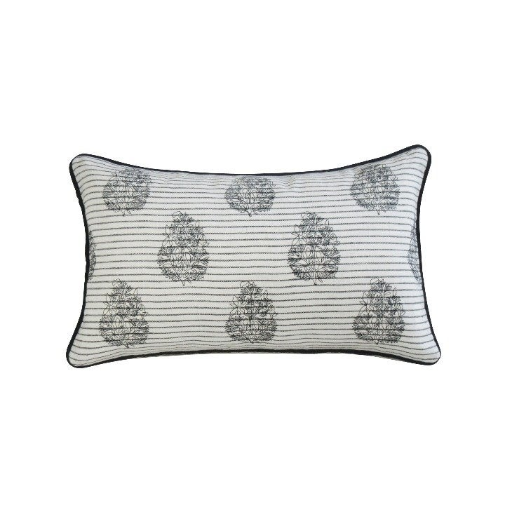 Embroidered Lumbar Pillow Cover; Cotton