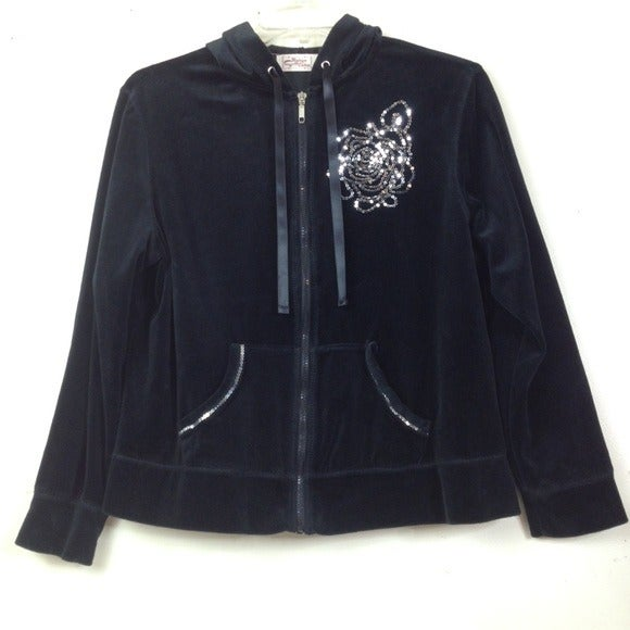 Vintage Cotton Black Velour Jacket XL