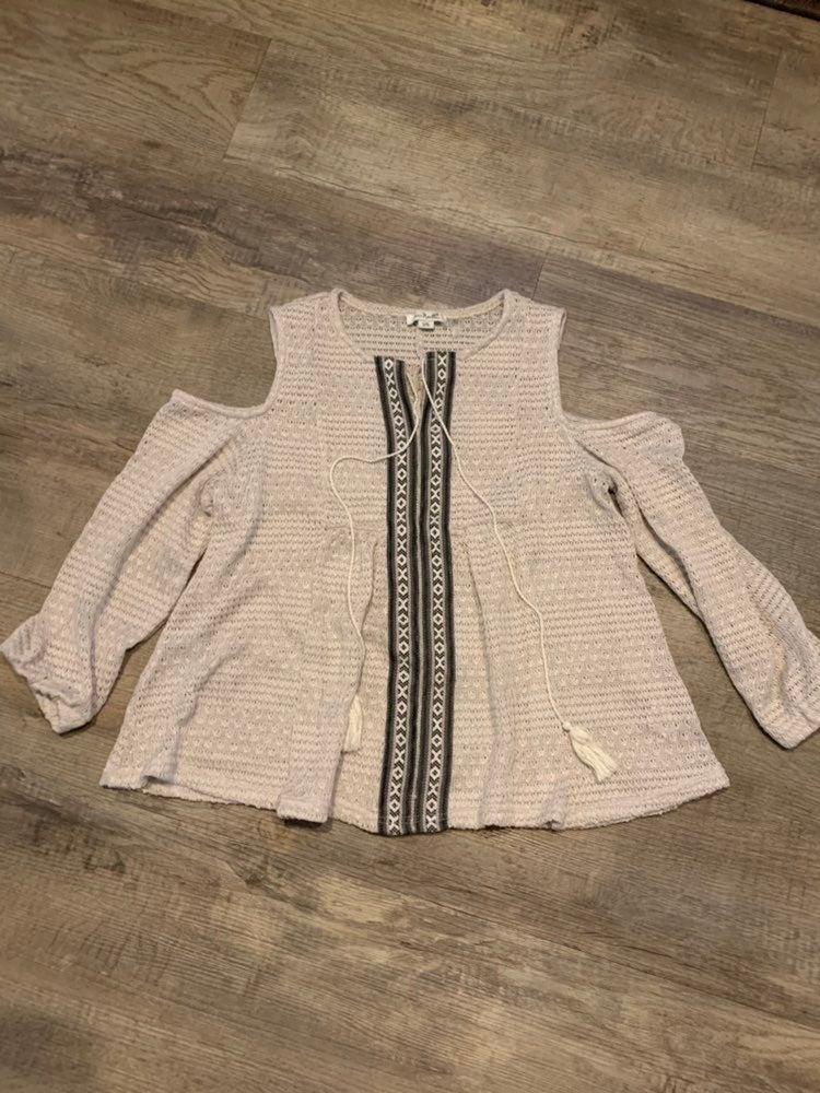 simply noelle cream Crocheted top