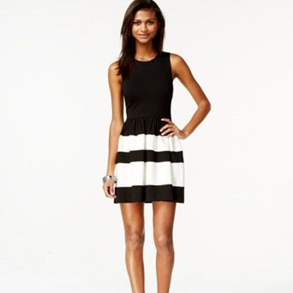 Bar III Colorblock Fit & Flare Dress