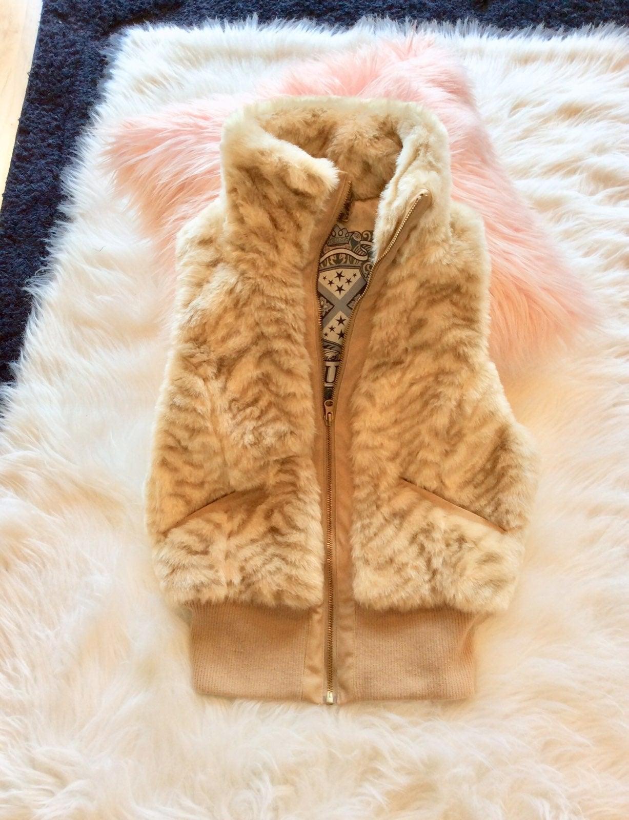 Jou Jou Faux Fur Jacket Vest Womens S