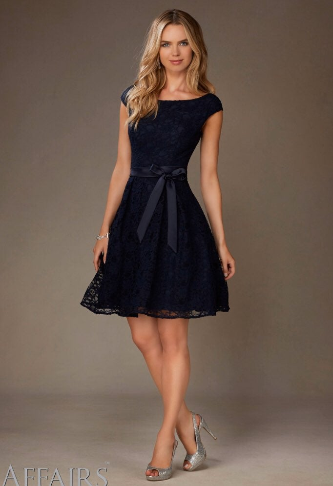 NWT Morilee Navy Blue Lace Dress