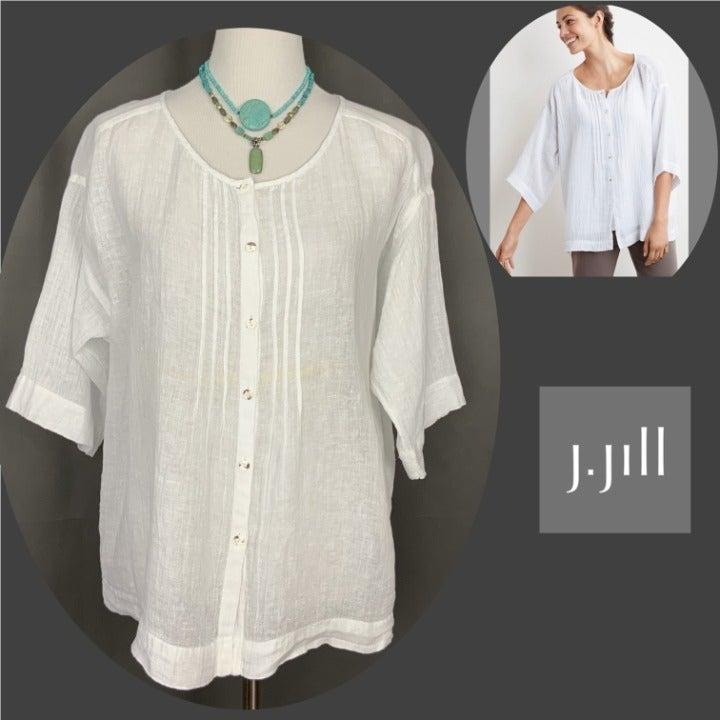 Pure Jill Linen Gauze Button Up Tunic S