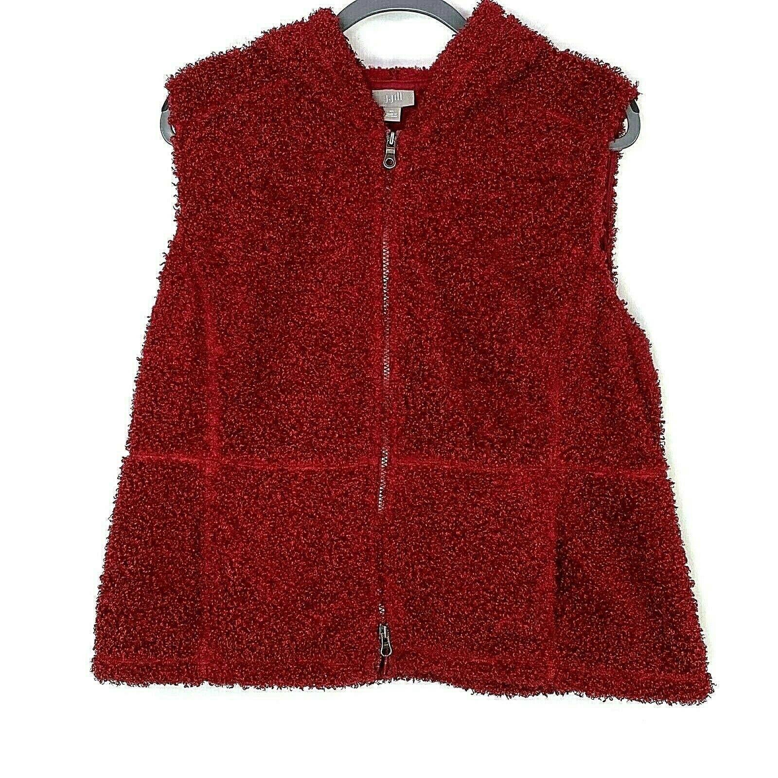 J Jill XL Hooded Vest Fuzzy Zip Pockets