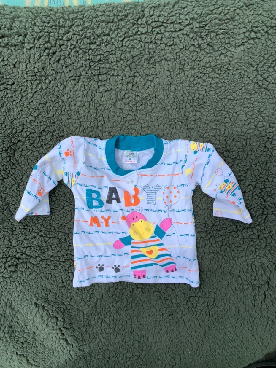 Top and baby pants size 0 hippo pattern
