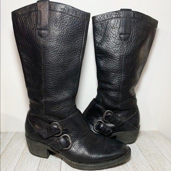 Born Black Leather Moto Style Boots