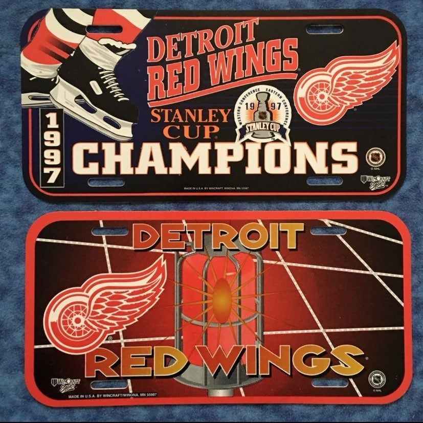 2 Detroit Red Wings License Plates Signs