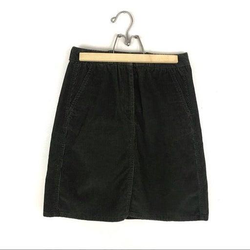 Vintage High Waist Green Corduroy Skirt