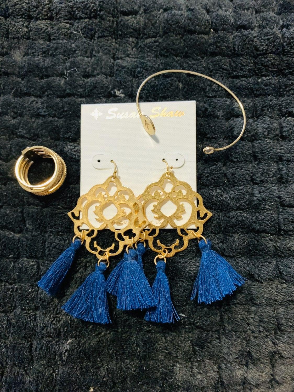 Blue and Gold Tassle Earrings