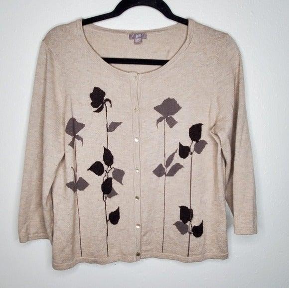 J. Jill Tan Cardigan Lambs Wool, Angora, Cashmere Blend Floral Applique Medium