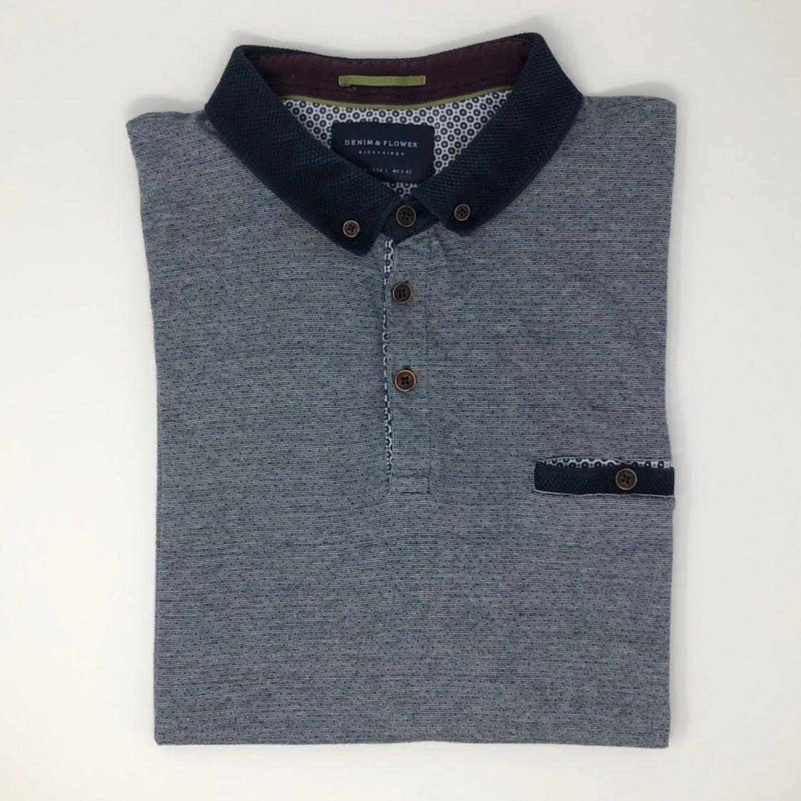 Denim & Flower Polo Shirt