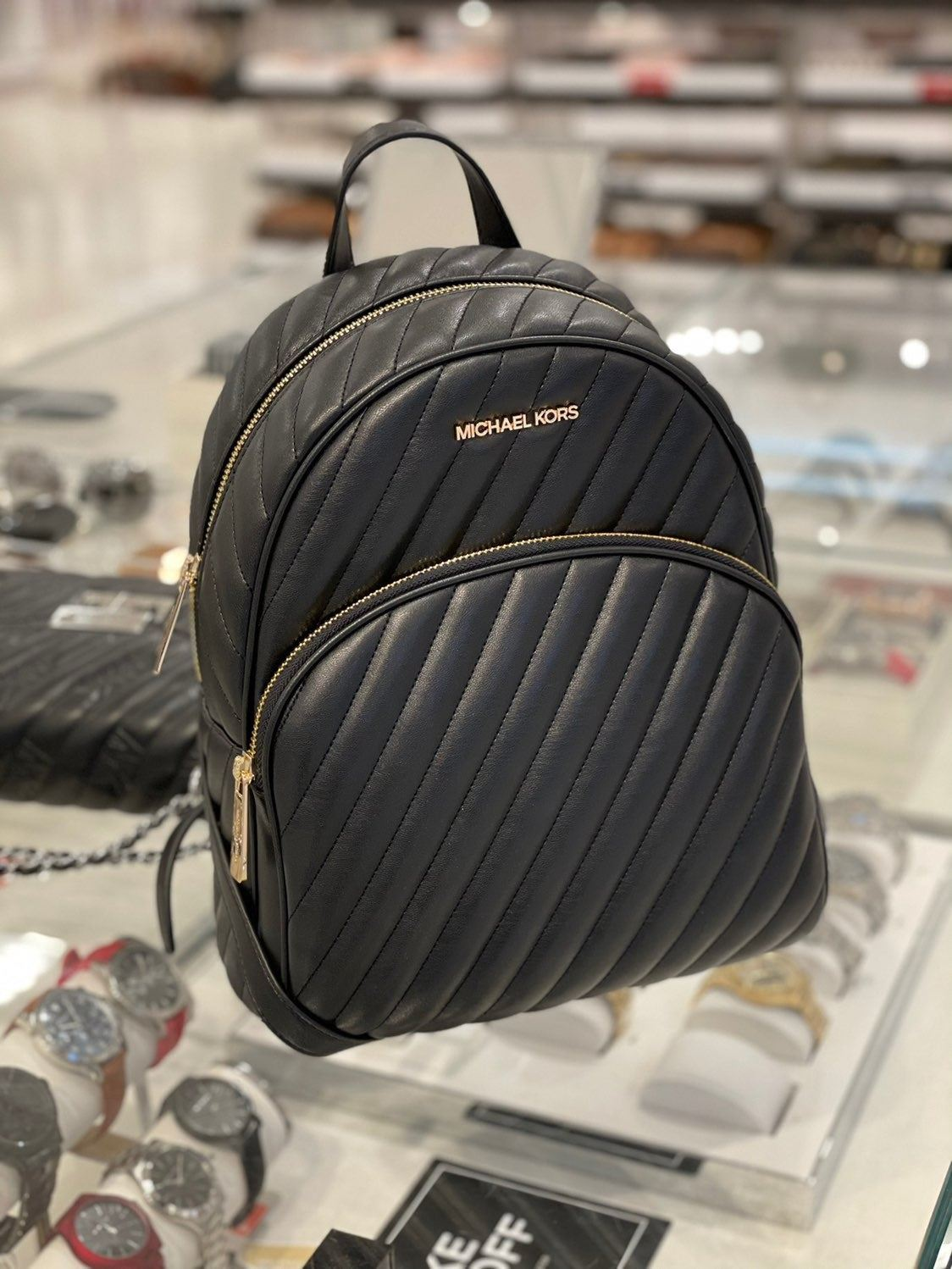 MK Abbey MD Quilted Backpack Black