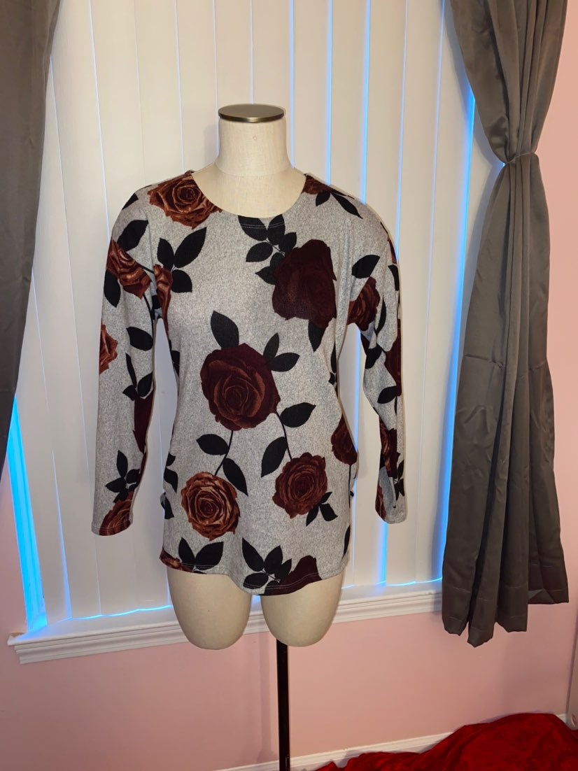 Womens Gray, Roses Sweater