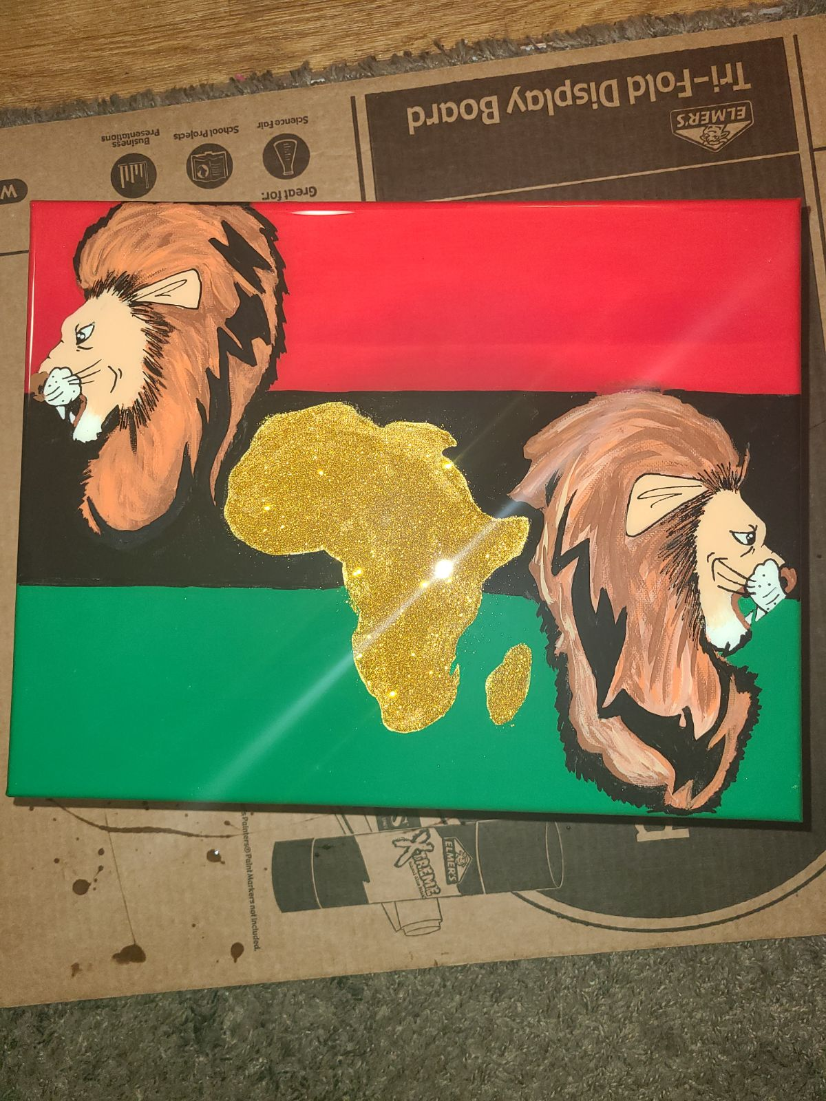 Canvas art with resin