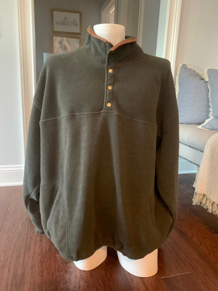 Orvis, Green Leather Accents Pullover