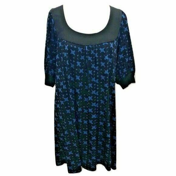 Max Studio M Dress Midi Black Blue Stret