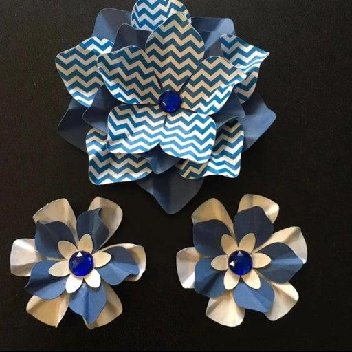 Handmade Paper Flowers Blue Chevron Gem
