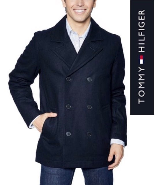 TOMMY HILFIGER Melton Wool PeaCoat XLT