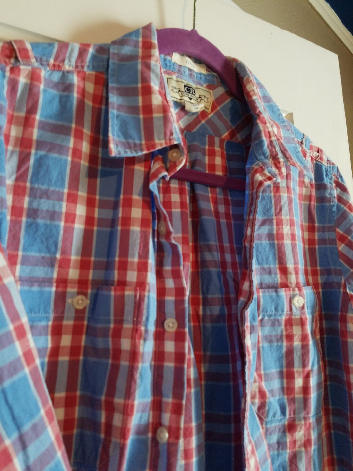 Men's Plaid button down shirt Fitted Med