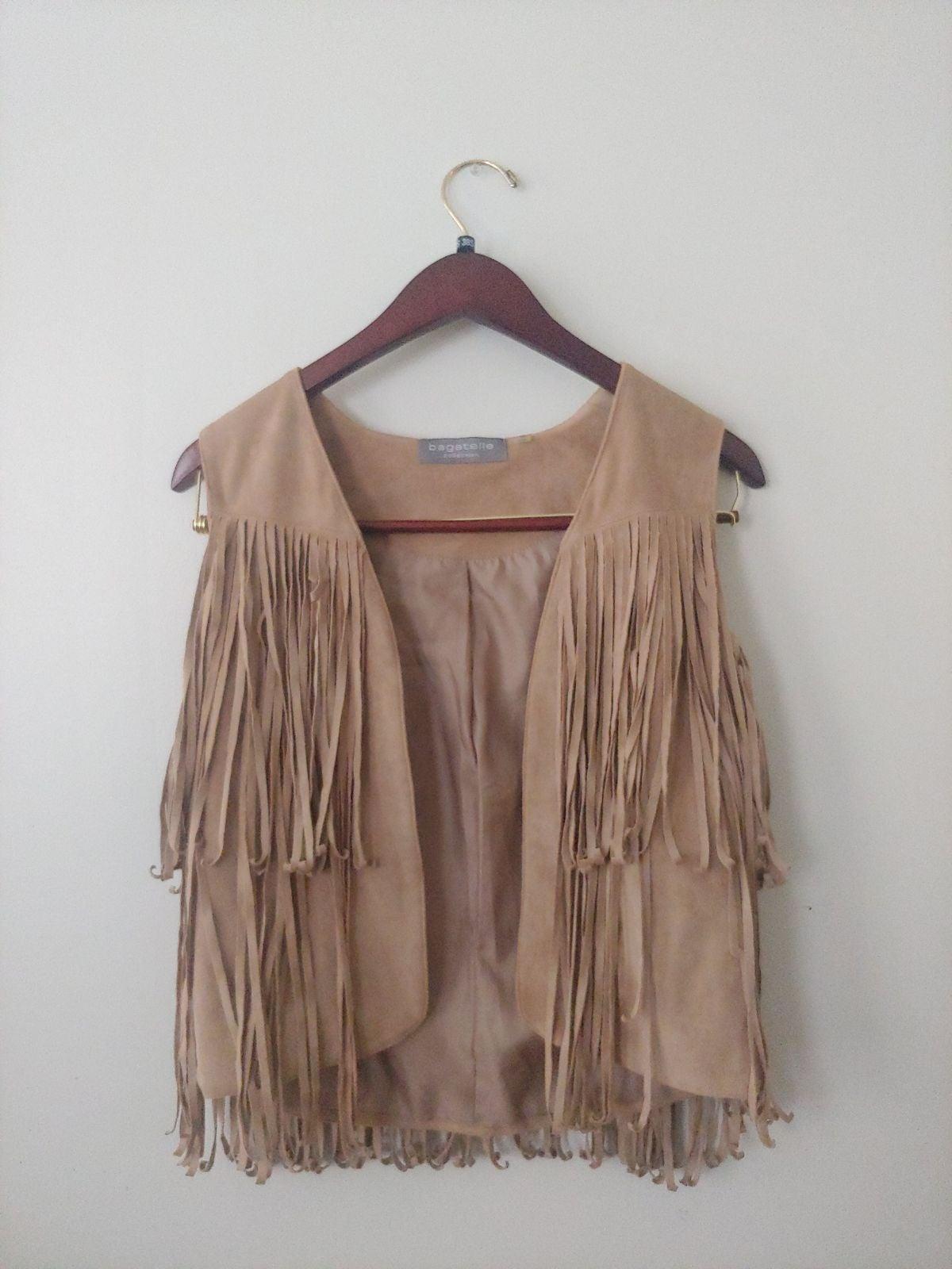 Suede fringe vest women's small