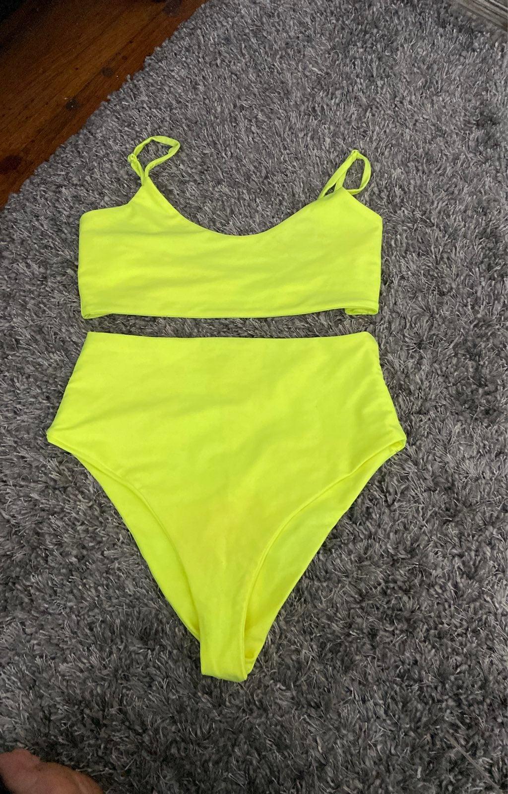 Neon Green 2 pc High Waist Bikini