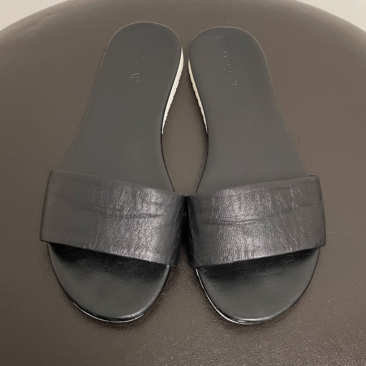 J Crew Leather Abbot Slides Black 7