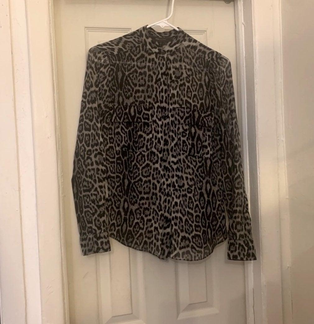 BCBG Gray Leopard Print Silk Blouse XXS