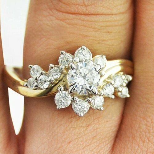 SIZE 7 925/18K GOLD/P WEDDING RING