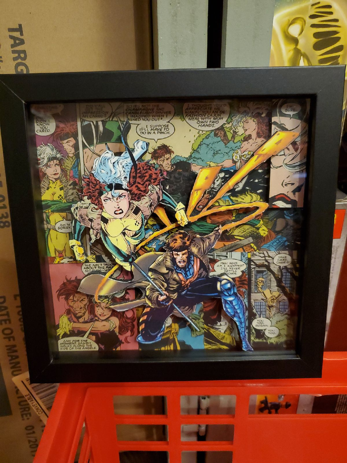 Rogue & Gambit 3D framed Marvel collage
