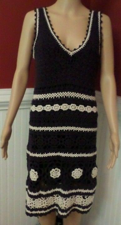 TORY BURCH Crochet Navy Blue Dress  Sz M
