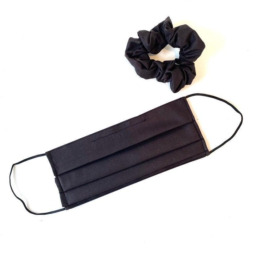 black face mask and scrunchie set