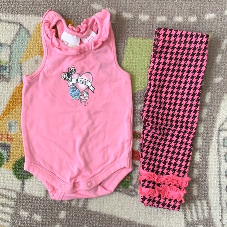 Amy Coe Baby Girl Outift 0-3m Pink Black