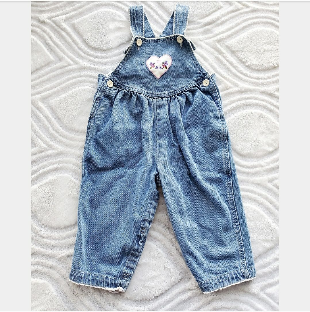 Vintage 80s Baby Girl Denim Overalls 18M