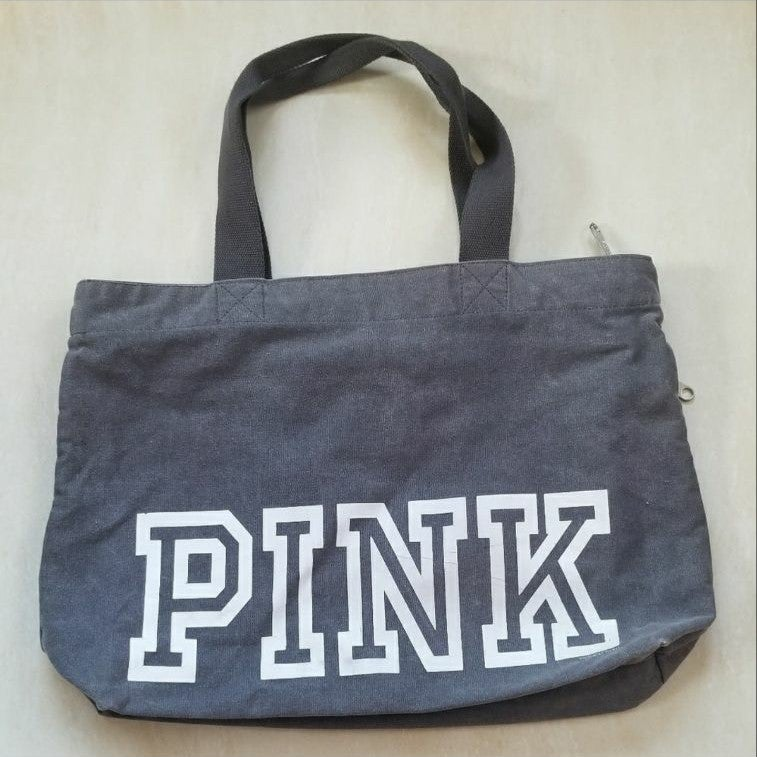 PINK gray fabric tote bag
