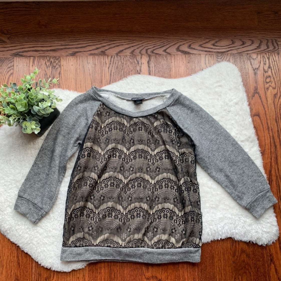 Grey Black Lace French Terry Sweatshirt