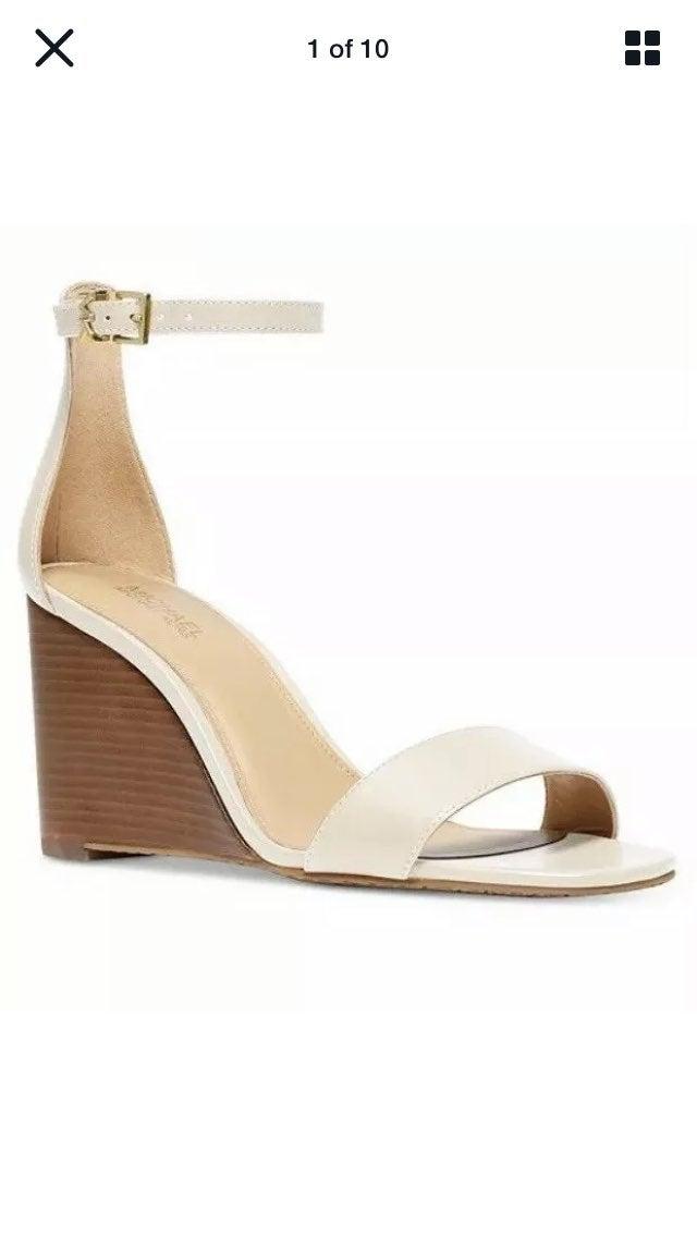 Michael Kors Fiona wedge sandals cream 7